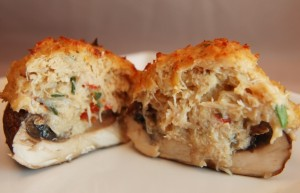 Crab Stuffed Mushrooms with Horseradish dipping sauce