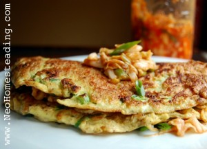 Crispy Korean Scallion Omelette with Homemade Kimchi Salsa