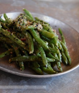 Oven Roasted Green Beans with White-Miso Dressing