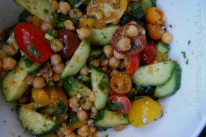 Chickpea Salad with Harissa and Preserved Lemon Dressing